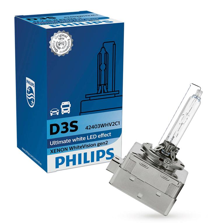D3S-42V-35W-WhiteVision-Xenon-gen2-5000K-LED-Effekt-2St-Philips-H6W-WhiteVision Indexbild 2