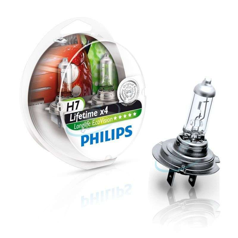H7-12V-55W-Longlife-Ecovision-x4-Extra-Lifetime-2St-Philips-H6W-Visione-Bianca miniatura 5