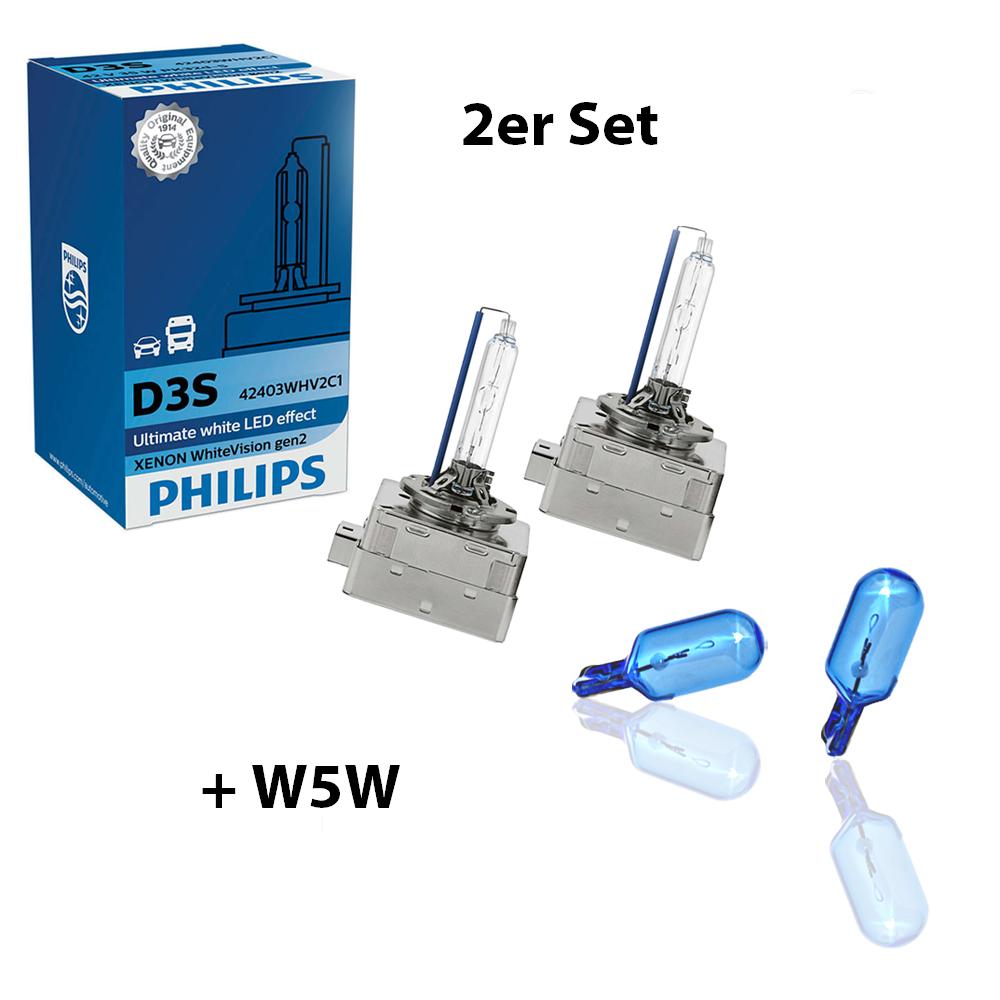 D3S-42V-35W-WhiteVision-Xenon-gen2-5000K-LED-Effekt-2St-Philips-H6W-WhiteVision Indexbild 10