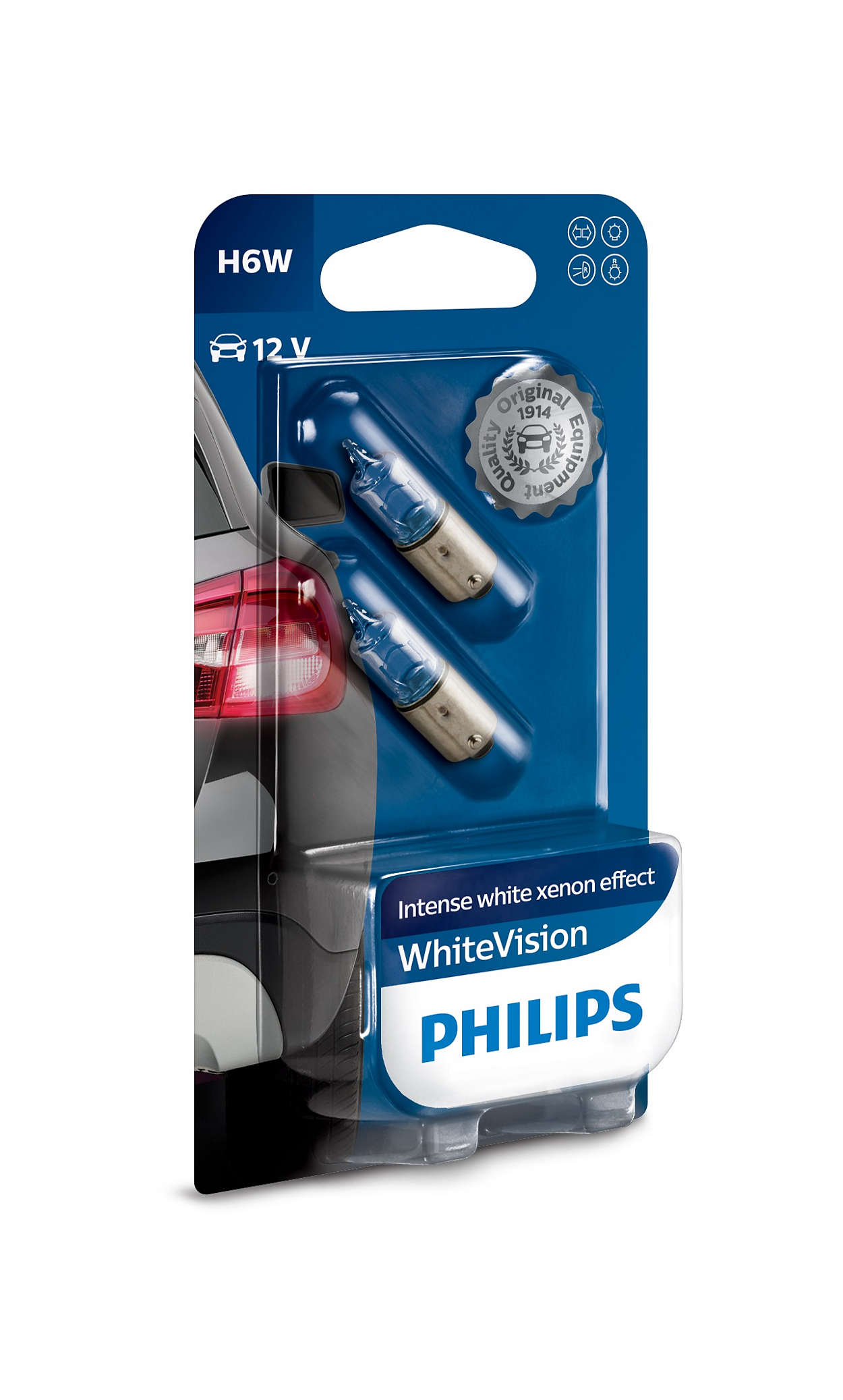 H7-12V-55W-Longlife-Ecovision-x4-Extra-Lifetime-2St-Philips-H6W-Visione-Bianca miniatura 2