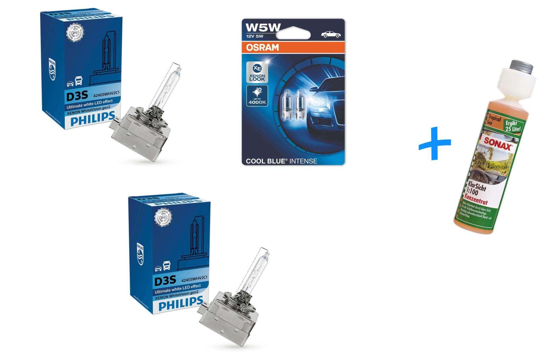D3S-42V-35W-WhiteVision-Xenon-gen2-2St-Philips-W5W-Cool-Blue-amp-Sonax-Klarsicht