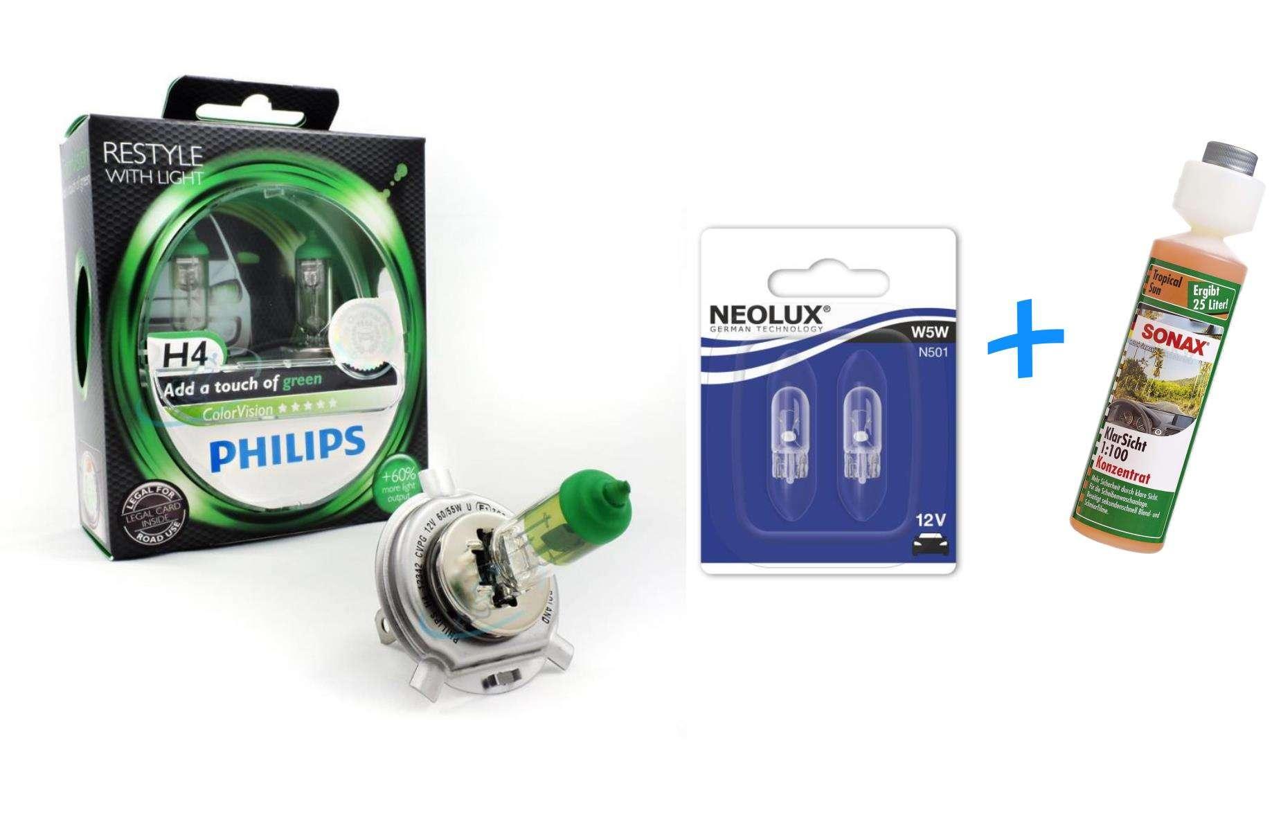 H4-COLORVISION-60-piu-luce-2st-PHILIPS-w5w-Neolux-SONAX-lucidita