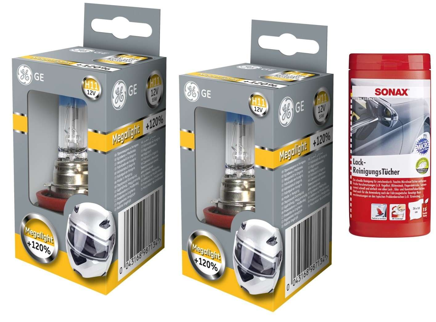 Sonax Lackreinigungstücher H11 12V MegaLight Ultra bis 130/% mehr Licht 2St GE